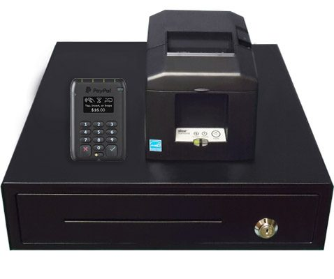 PayPal Reader with Stationary Printer and Cash Drawer